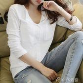 女生長T   季韓版竹節棉長袖t恤女裝大碼寬鬆體恤純棉白色打底衫v領上衣潮   ciyo黛雅