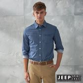 【JEEP】滿版幾何圖形印花長袖襯衫 (藍)