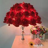 水晶台燈臥室床頭燈創意婚慶婚房裝飾台燈歐式溫馨公主房燈兒童燈  9號潮人館