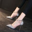 細跟鞋 銀色超淺口高跟鞋女百搭性感夏新款一字扣尖頭單鞋 - 古梵希