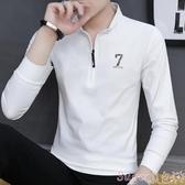 polo衫秋冬季男士長袖T恤韓版潮流polo衫打底衫ins秋裝上衣服加厚款 交換禮物