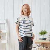 【Tiara Tiara】點線面短袖棉T上衣(灰/淺卡)