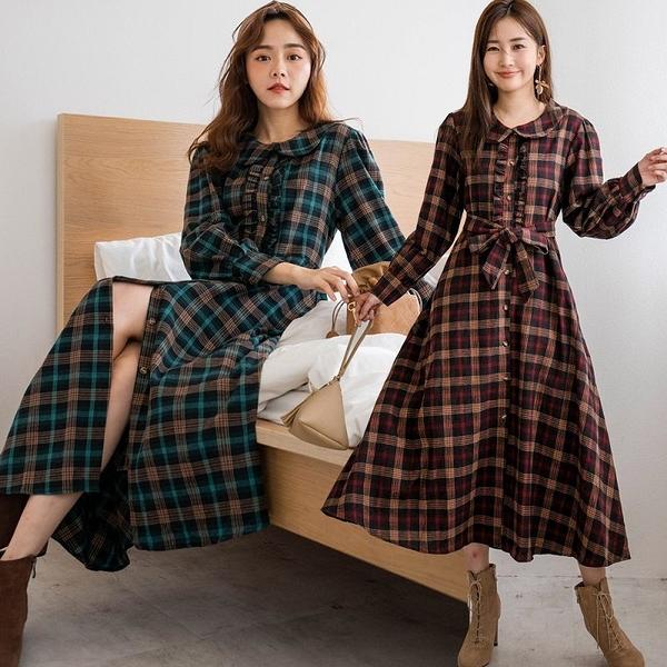 現貨-MIUSTAR 荷葉滾邊排釦法蘭西格紋毛料洋裝(共2色)【NH2622】