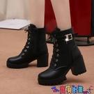 高跟短靴 2021秋冬款高跟粗跟防水臺系帶歐美女鞋短靴保暖馬丁靴系帶女靴子 618狂歡