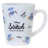 小禮堂 迪士尼 史迪奇 馬克杯 陶瓷杯 咖啡杯 茶杯 (藍白 滿版) 4935124-53130