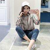 女裝韓版寬鬆條紋長袖襯衫顯瘦薄款休閒襯衣防曬衣學生上衣潮  原本良品