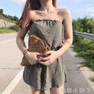 抹胸連身褲性感春裝新款女時尚條紋拼色寬鬆寬管褲洋氣高腰短褲子 蘿莉小腳丫