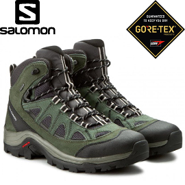 【SALOMON 索羅門 男款AUTHENTIC GORE-TEX中筒登山鞋《灰/綠/白》】390409/中筒/登山鞋/健行