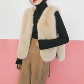 新款皮草馬甲短款仿水貂毛毛毛背心女系帶無袖外套馬夾韓版 城市科技