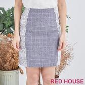 RED HOUSE-蕾赫斯-蕾絲格紋合身短裙(藍色)