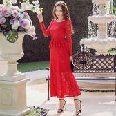 秋裝女新款中長款超仙女收腰荷葉邊連衣裙禮服紅色蕾絲長裙子【限時八折】