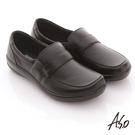 A.S.O 學生鞋款 全真皮素面莫卡辛氣墊鞋 黑