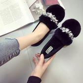 豆豆鞋 毛毛鞋女冬外穿新款韓版百搭豆豆鞋女加絨厚底一腳蹬棉鞋大碼