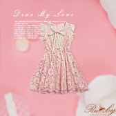 洋裝 露比設計‧花朵蕾絲綁帶無袖洋裝-粉紅-Ruby s露比午茶