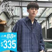 男長袖襯衫  質感格紋襯衫外套【NW679002】