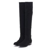 MICHELLE PARK 極簡顯瘦及膝靴粗跟長靴-黑