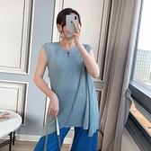 無袖T恤-高彈力純色寬鬆不規則褶皺女上衣3色73zs33【巴黎精品】