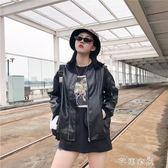 皮衣女秋新款韓版時尚百搭立領蝙蝠長袖寬鬆顯瘦PU皮短外套潮 千惠衣屋