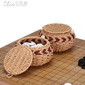 標準比賽專業圍棋罐藝編簍實木碳化楠竹罐五子棋盒竹罐圍棋塑編簍「七色堇」
