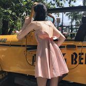 夏裝女裝韓版時尚高腰背後交叉肩帶露背吊帶裙度假洋裝顯瘦短裙 〖korea時尚記〗