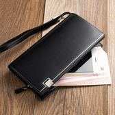 男款錢包 皮夾 長夾新款多功能男士手拿包長款歐美風范手抓包男款錢包商務手包潮包