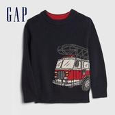 Gap男幼童 趣味織紋圓領針織衫 617795-海軍藍