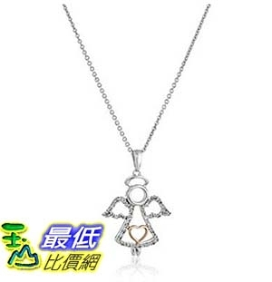 [美國直購] 14K Rose Gold over Sterling Silver Diamond Angel Pendant Necklace (1/10 cttw), 18 項鍊