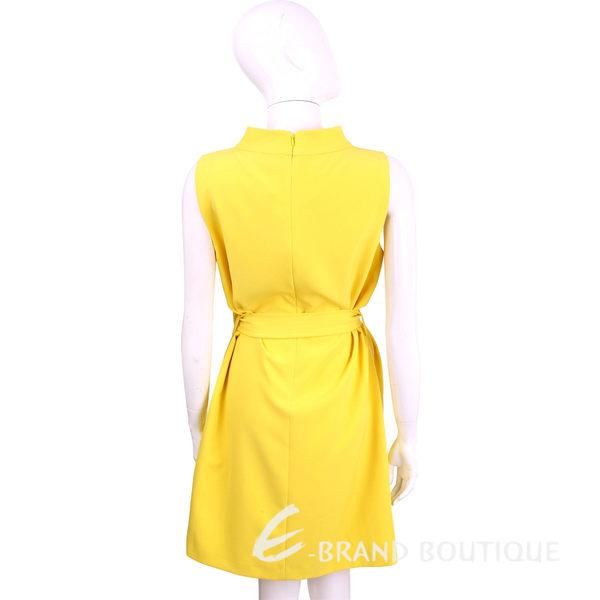BLUGIRL 黃色素面小立領無袖綁帶洋裝 1620611-66