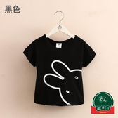 現貨 寶寶小兔短袖T恤女童童裝兒童圓領上衣【福喜行】
