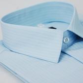 【金‧安德森】藍色寬暗紋窄版短袖襯衫