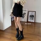 短裙 黑色開叉半身裙女秋冬新款高腰顯瘦氣質百搭A字包臀裙短裙