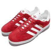 adidas 休閒鞋 Gazelle W 復古 紅 白 麂皮 金標 男鞋 女鞋 情侶鞋 【PUMP306】 S76228