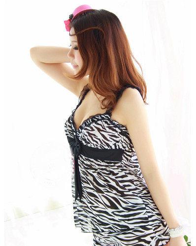【Sexy cat】性感甜心 斑馬紋 絲緞二件式睡衣