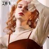 韓國時尚簡約大氣個性流行金色太陽花人造珍珠鑲鉆耳環耳墜女 魔法街