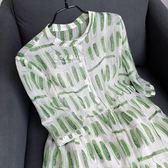 米蘭 巨巨巨好看!涼爽透氣!顯膚白 果綠色印花天絲棉洋裝女夏连身裙