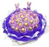 娃娃屋樂園~33朵-亮粉花朵.金莎+2隻小熊/小兔花束(網紗/羽毛版) 每束1500元/情人節花束/教師節花束