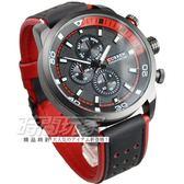 CURREN 仿三眼雅痞格調時尚男錶 高質感 皮革錶帶 防水手錶 石英錶 黑紅 CU8250紅黑