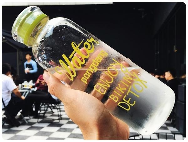 【彩色1000ml】送杯袋 韓國時尚玻璃杯 超大容量WATER 1L水杯 高硼矽玻璃瓶 隨身瓶 水壺