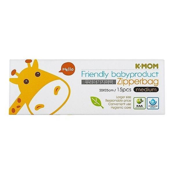 韓國 K-MOM 動物家族抗菌儲存袋(長頸鹿斑斑M)15入/盒【小三美日】MOTHER-K