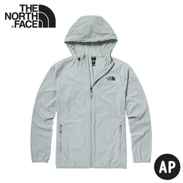 【The North Face 男 防風連帽外套《淺灰》】4U8X/輕薄防曬透氣排汗外套/夾克風衣/連帽外套