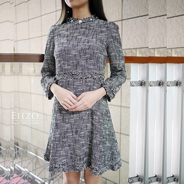 【EIIZO】優雅小香風洋裝(灰)