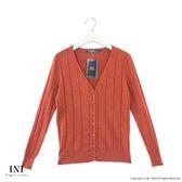 【INI】實穿日常、坑條織紋素色針織外套.可可色