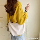韓國春夏新款復古極簡褶皺餃子包ins女包潮百搭單肩包斜跨牛角包 青木鋪子