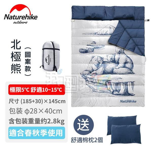 原裝NatureHike北極熊雙人情侶睡袋 NH汽車露營的最佳防寒防潑水配件