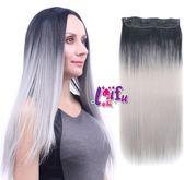 草魚妹-W108髮片多奶奶灰無痕一片式直髮假髮接髮片,售價268元