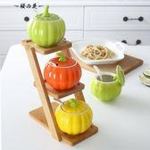 創意廚房陶瓷調味瓶罐三件套調料罐調料盒組合裝鹽罐辣椒油罐家用【櫻花本鋪】