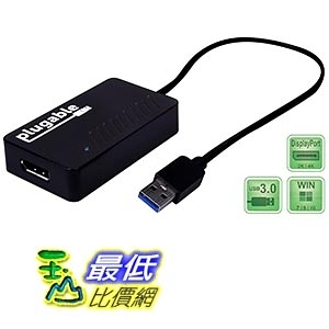 [美國直購] Plugable USB 3.0 to DisplayPort 4K UHD (Ultra-High-Definition) Video Graphics Adapter 適配器