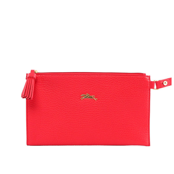 【LONGCHAMP】penelope系列小牛皮手拿包(有把手)(紅色)2039843379