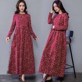 棉麻長袖連衣裙秋裝民族風女裝寬鬆顯瘦印花復古盤扣長裙 巴黎時尚