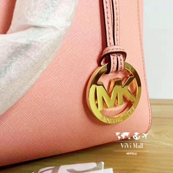 『Marc Jacobs旗艦店』Michael Kors美國MK粉色十字紋牛皮經典殺手包手提包斜背包正品